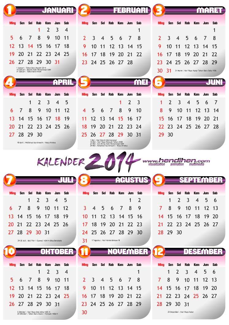 Kalender 2014 gratis download format PDF & CDR